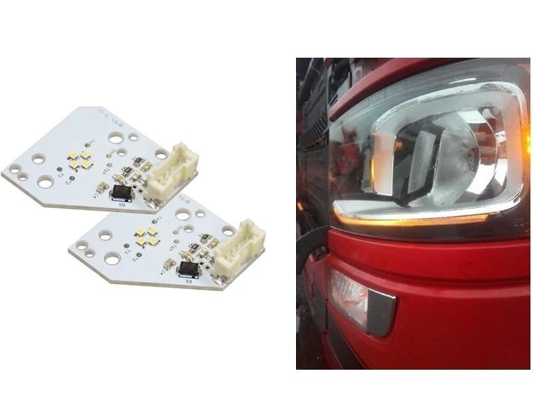 Scania LED dagrijverlichting oranje - gemonteerd in een Scania Next Gen