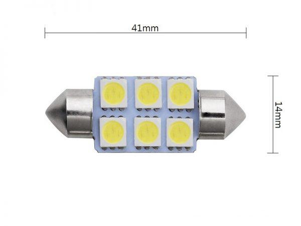 Festoon 6 LED buislamp 24 Volt 41 millimeter