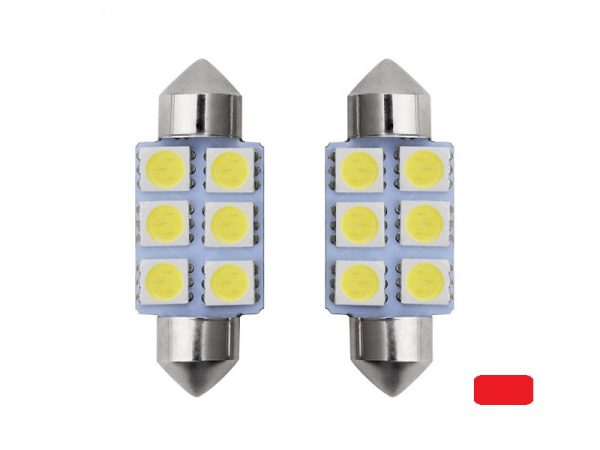 Festoon 6 LED buislamp 41mm rood 24 Volt - vrachtwagen - interieurverlichting