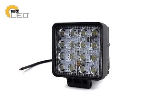 TruckLED LED werklamp vierkant 48W - geschikt voor 12&24 volt - met 35cm aansluitkabel - voor auto, vrachtwagen, aanhangwagen, camper, tractor en meer - EAN: 2000010032921