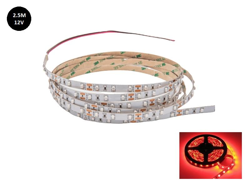 12 Volt LED strip rood 2.5 met silicone laag IP65 - 3528 LED's voor auto, aanhanger en meer - EAN: 6090435014059