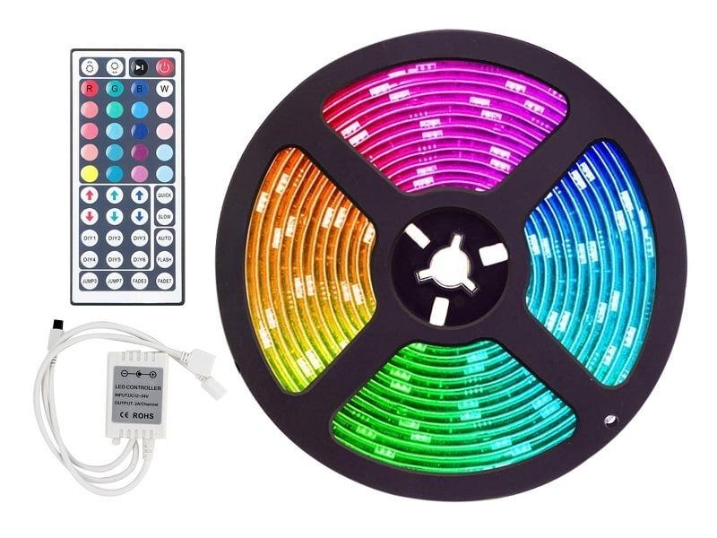 RGB LED strip 24 volt IP65 met silicone laag 2,5 meter rol - voor vrachtwagen, trailer, aanhanger en meer - enkel werkzaam op 24 volt