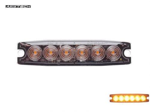 Ultra dunne 6 LED flitser ORANJE voor opbouw montage - plat model voor de voorgrille of achterkant van uw auto, vrachtwagen, aanhanger, tractor en meer - te gebruiken voor 12 & 24 volt - EAN: 6090439936913