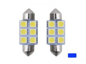 Festoon 6 LED buislamp 41mm blauw 24 Volt - vrachtwagen - interieurverlichting