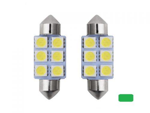 Festoon 6 LED buislamp 41mm groen 24 Volt - vrachtwagen - interieurverlichting