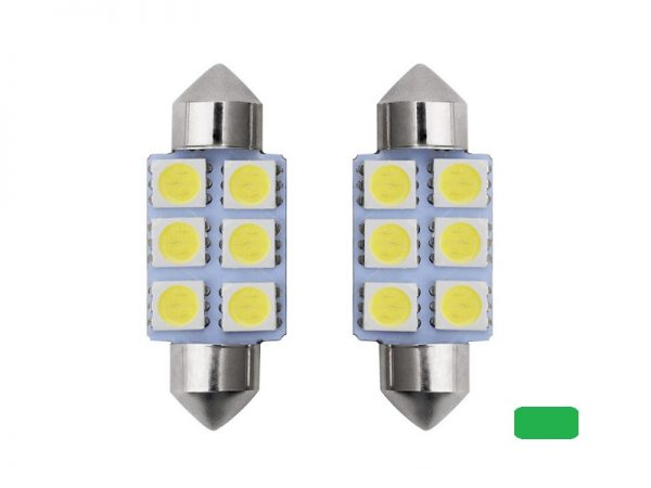 Festoon 6 LED buislamp 41mm groen 24 Volt - vrachtwagen - interieurverlichting