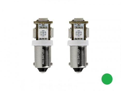BA9S LED lamp groen - geschikt voor 24 volt gebruikt - interieurverlichting voor vrachtwagen, camper en meer - met 5 SMD LED's - EAN: 6090555270212