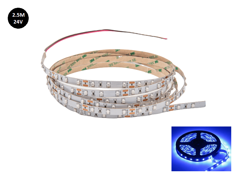 24 Volt LED strip blauw 2.5 met silicone laag IP65 - EAN: 6090432012072