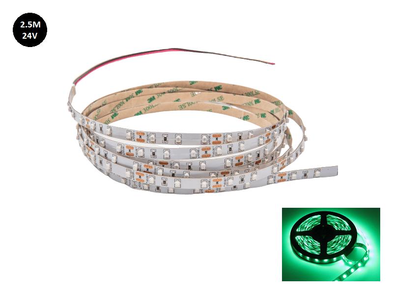24 Volt LED strip groen voor vrachtwagen - 2.5 met silicone laag IP65 - EAN: 6090444511549