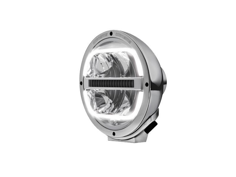 Hella Luminator full LED verstraler met LED stadslicht - voor 12&24 volt - artikelnummer Hella: 1F8 016 560-031 - behuizing: Chroom