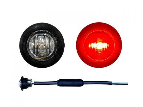 Inbouw LED markeringslamp rond rood met helder glas - voor 12 & 24 volt gebruik - 28mm