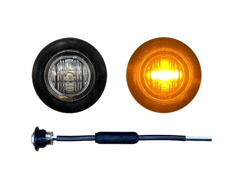 Inbouw LED markeringslamp rond oranje met helder glas - voor 12 & 24 volt gebruik - 28mm
